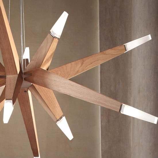 Drevený luster, svietidlo do obývačky Flashwood
