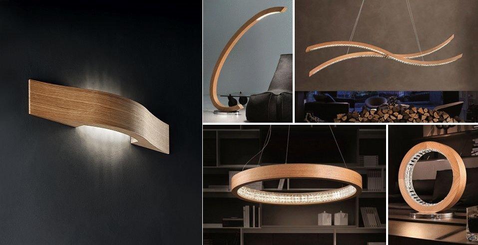 Drevený luster Libe, LED luster